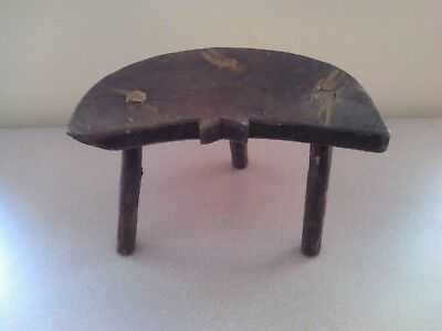Antique Primitive Old Wooden Wood Handmade Stool Chair Tripod Rare