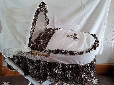 Moses Basket Dressing Covers Bedding Cotton Mix Animal Print Abc New