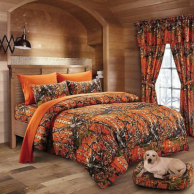 12 Pc Woods Orange Queen Size Camo Comforter Sheet Set Camouflage Bedding Curt