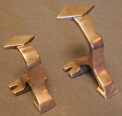 Rare Matching Vintage Solid Brass Art Deco Small & Larger Hooks, Excellent