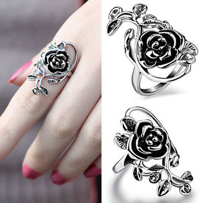 Women Girls Ring Chic Stainless Steel Open Rose Flower and Vine Gift Size15-21