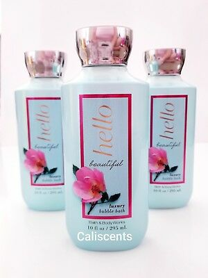 3 x Bath & and Body Works HELLO BEAUTIFUL Bubble Bath (10 fl.oz) New!