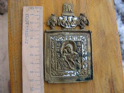 Rare Antique Russian  bronze icon The Virgin of Vladimir.Enameled,18-19th centur
