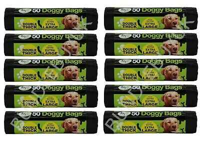 500 Extra Large Strong Dog Poo Bags Tie Handles Waste Bags Poop (10 x 50)