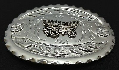 Silver Finish - Covered Wagon - Western - Belt Buckle - Free Shipping