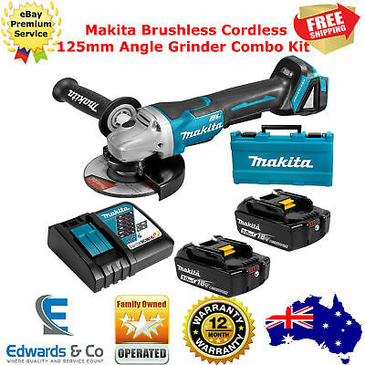 Angle Grinder Makita Cordless 125mm Brushless Disc Battery 5.0Ah Charger Combo