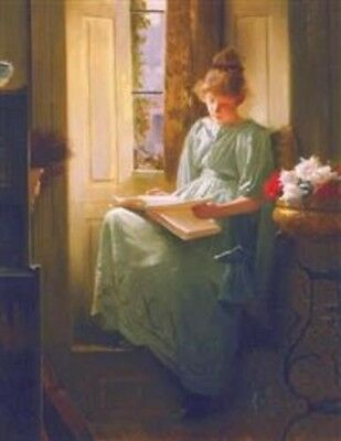 """Victorian Trading Co. Vintage Print """"An Interesting Chapter"""" Woman Reading"""