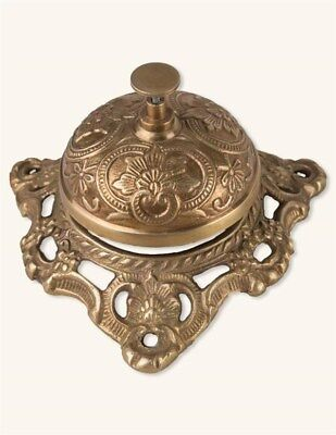 Victorian Trading Co Clerk's Bell Brass Ornate Desk Ringer