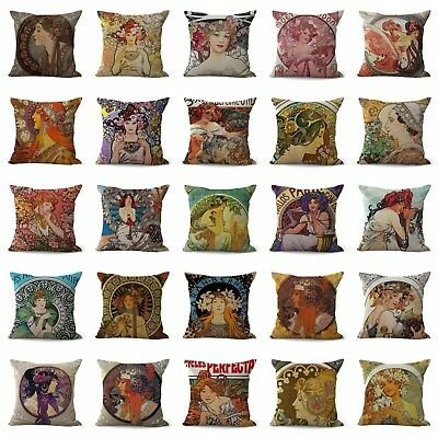 US SELLER-20pcs cushion covers art nouveau Alphonse Mucha pillow couch