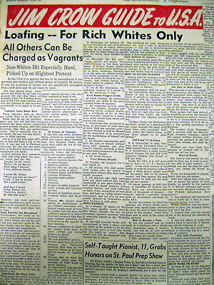 1950 African-American newspaper w Headline- A JIM CROW GUIDE to the USA !
