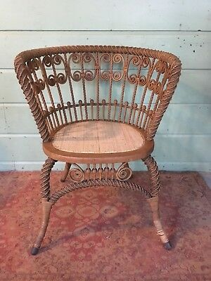 Antique Heywood Wakefield Rattan Wicker Ornate Chair Gardner MA!