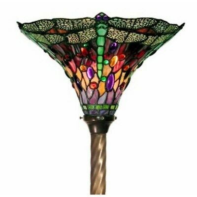Tiffany Antique Bronze Dragonfly Floor Lamp Foot Switch 72in Stained Glass Light