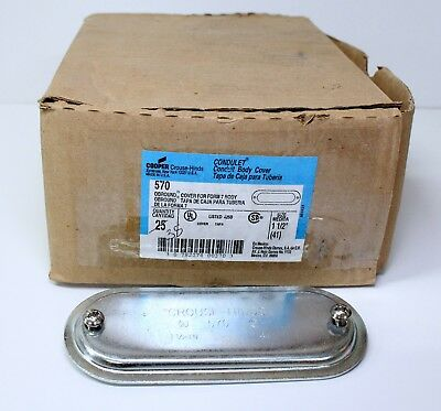 """Box Of 25 New Crouse-Hinds 570 1-1/2"""" Form 7 Conduit Body Covers Aluminum"""
