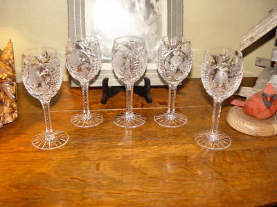 5 Bohemian / Waterford / Rogaska Crystal Heavy Cut Clear Etched Hock Wine Goblet