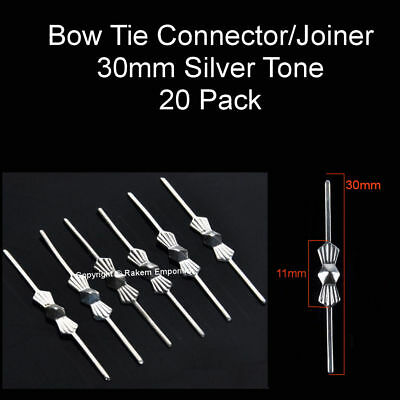 Bow Tie Connector/Joiner 30mm Silver Tone - Pack 20 - BTCS