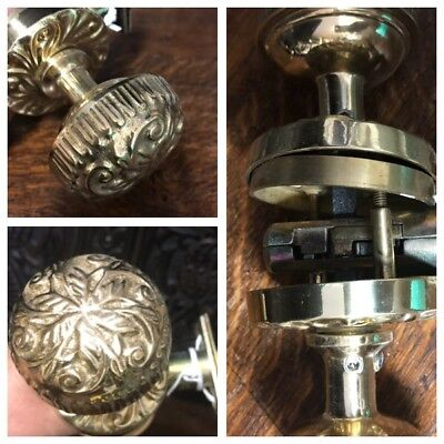 Door Knobs Front & Back, Made in Italy By Omnia, Ornate Heavy, Brass