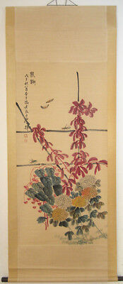 Excellent Chinese 100% Hand Painting Flowers and insects by Qi Baishi 齐白石