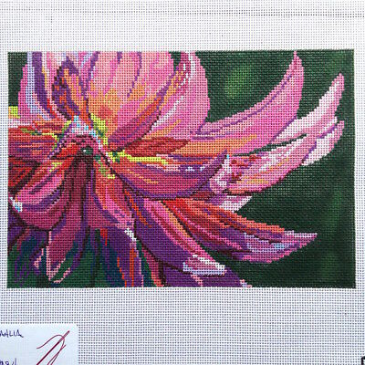 Dream House Ventures Handpainted Needlepoint Canvas Pink Dahlia flower