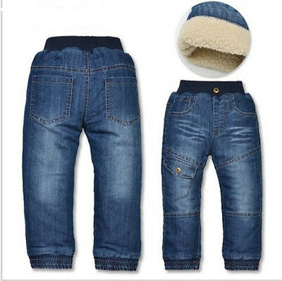 Kids Boys Girls Winter Warm Denim jeans children Thick Fleece Pants Trousers