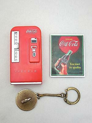Lot of 3 Vintage Coca-Cola COKE MACHINE, Sign 1995 Refrigerator Magnets KEYCHAIN