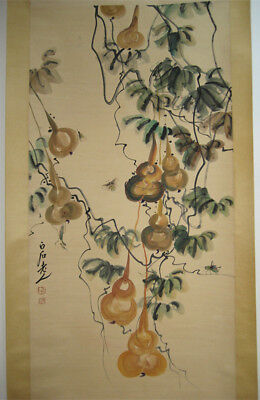 Excellent Chinese 100% Hand Painting Gourd by Qi Baishi 齐白石 葫芦