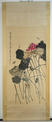 Excellent Chinese 100% Hand Painting Lotus and Insects by Qi Baishi 齐白石
