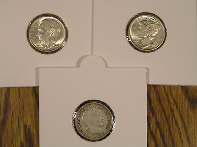 Three SILVER DIME LOT * BARBER * BU UNC 1939D MERCURY & 1946D Roosevelt Mounted