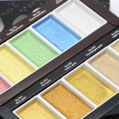 6 Colors Starry Colors Solid Paints Metallic Gold Watercolor Paniting Supplies