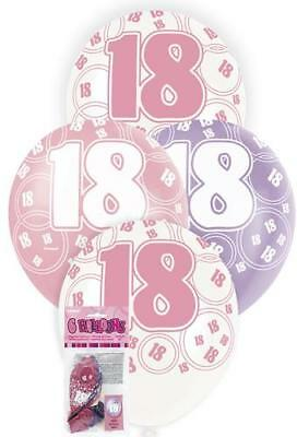 6 Glitz 18th Birthday Decorations Latex Helium Balloons Pink Purple White 80872