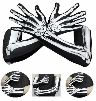 1 Pair Halloween Black White Skeleton Gloves Skull Fancy Dress Accessory Ghost