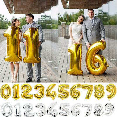 "Gold/Silver Helium Foil 40"" Number Balloons Birthday Wedding Party Decoration"