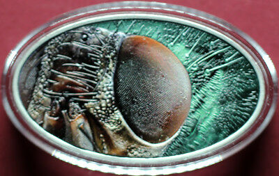 Housefly Eye Niue 2014  1 Oz 0.999 Silver Colored Macro XL Relief with Box & COA