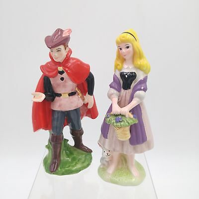 Vtg Disney Sleeping Beauty Ceramic Figurines - Aurora & Prince Phillip - Japan