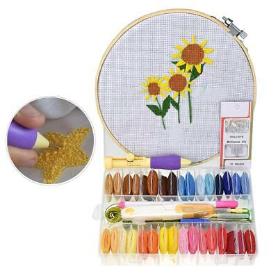 DIY Embroidery Pen Set Knitting Sewing Tool Kit Punch Needle +32 thread Set Gift
