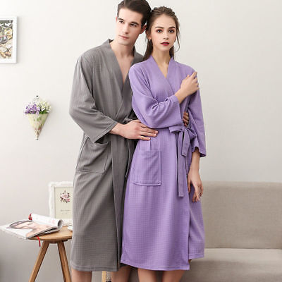 Cotton Summer Nightgowns Mens Womens Waffle Bath Robe Suck Sweat Kimono Bathrobe