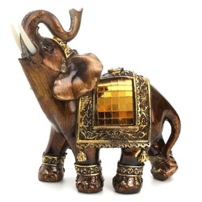 Feng Shui Lucky Elegant Elephant Trunk Statue Wealth Figurine Ornament Gift ♫