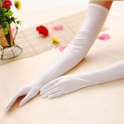 Women Satin Extra Long Gloves Five Fingers Stretch Elbow Evening Party Costume
