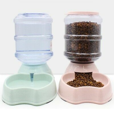 3.8 L Automatic Pet Dog Cat Water Drink Bowl Food Feeder Dispenser Waterer Dish