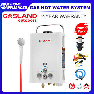 GASLAND Gas Hot Water Heater Portable Shower Camping Pump Hose Fittings System