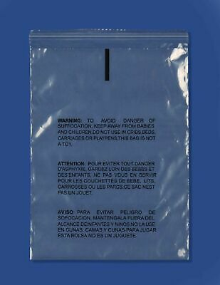 PE 200 Pcs 10x13 Clear Poly Bags 1.6mil Self-seal with Suffocation Warning