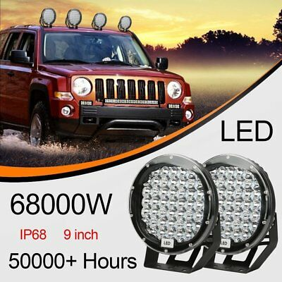 9inch Round Spot LED Driving Lights Spotlights Lamp Offroad Work 4WD 4x4