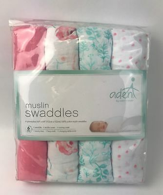 Aden + Anals 100% Cotton Muslin Swaddle Blankets in Full Bloom (4-Pack) - NEW