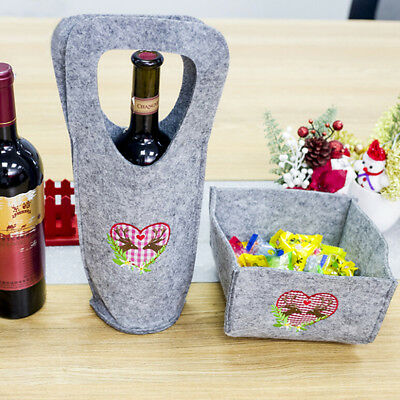 Christmas portable wine bottle cover gift candy flannel storage bag xmas decor