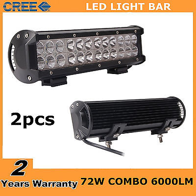 2X 12inch 72W CREE LED Work Light Bar Spot Flood Combo Ford Offroad SUV Jeep 4WD
