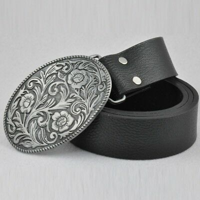 New Cool Vintage Men's Leather Belt Western Cowboy Floral Flower Belt Buckle