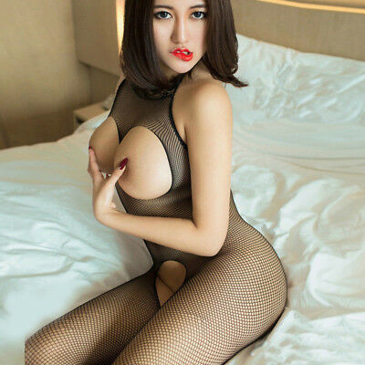 1PC Womens Sexy Lingerie Fishnet Crotchless Bodysuit Bodystocking Nightwear