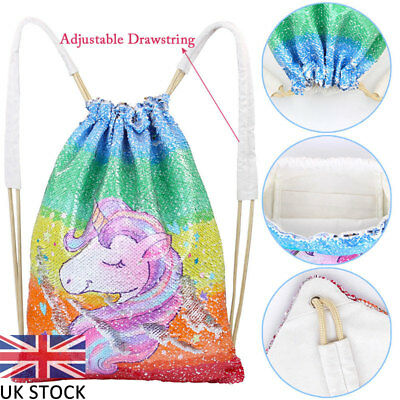 Outdoor Shoulder Unicorn Reversible Sequins Bag Glitter Sport Backpacks UK Stock