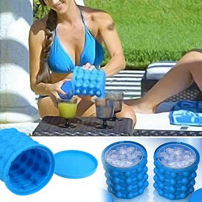 Revolutionary Space Saving Ice Cube Maker Silicone Bucket Kitchen Tool Magic uk