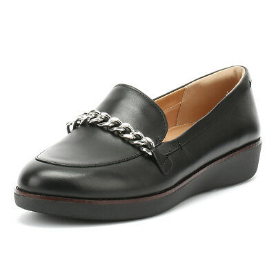 457c1a7e4 FITFLOP WOMENS BLACK Paige Chain Loafers Slip On Leather Ladies Casual Shoes  - EUR 79