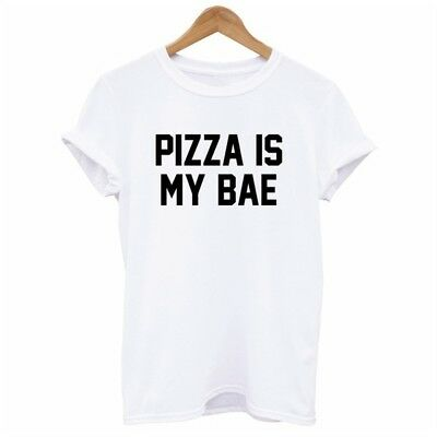 Casual Women Men Summer O-neck Top Pizza Is My Bae Letter Print T Shirt CB